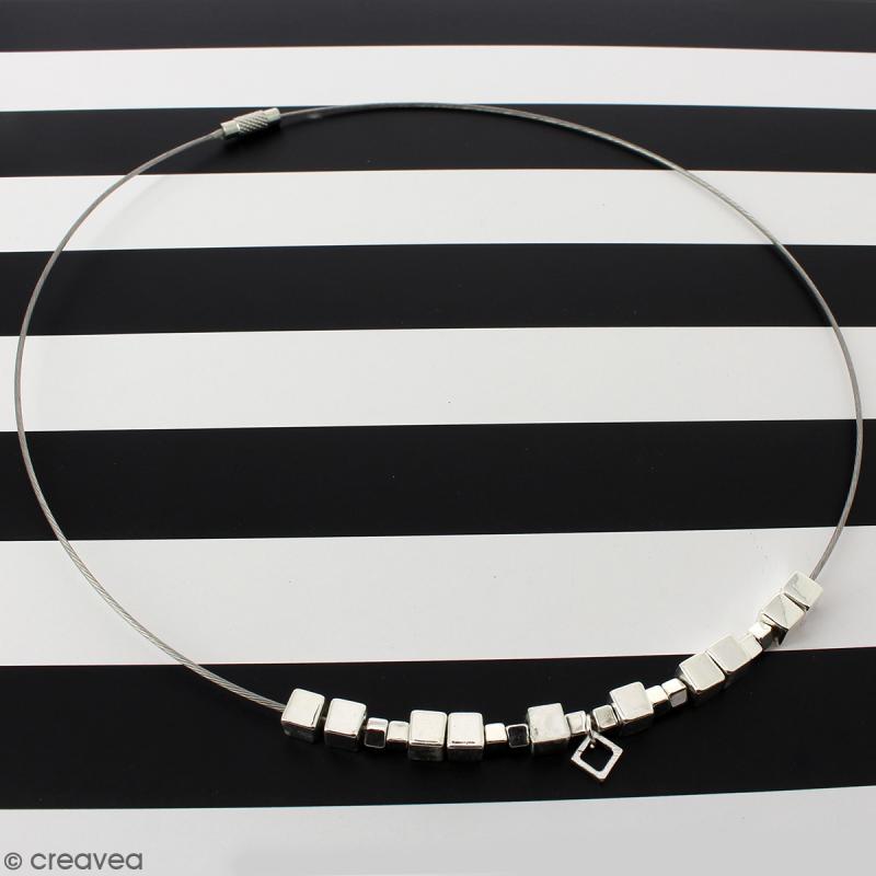Collier tour de cou cable - Argenté - 15 cm - 1 pce - Photo n°2