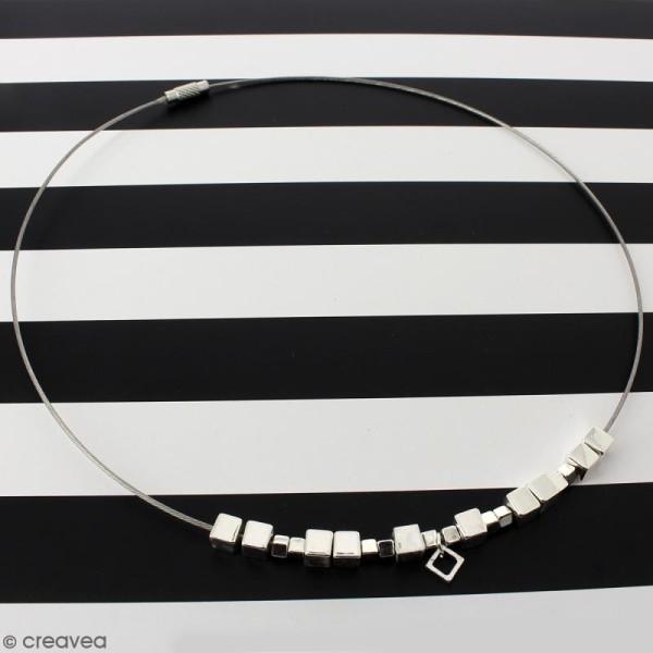 Collier tour de cou cable - Argenté - 15 cm - 10 pcs - Avec packaging - Photo n°2