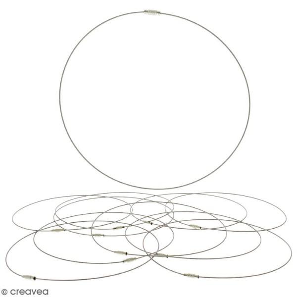Collier tour de cou cable - Argenté - 15 cm - 10 pcs - Avec packaging - Photo n°1