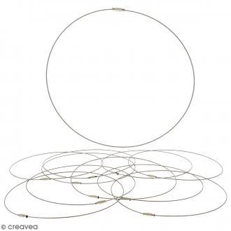 Collier tour de cou cable - Argenté - 15 cm - 10 pcs - Avec packaging
