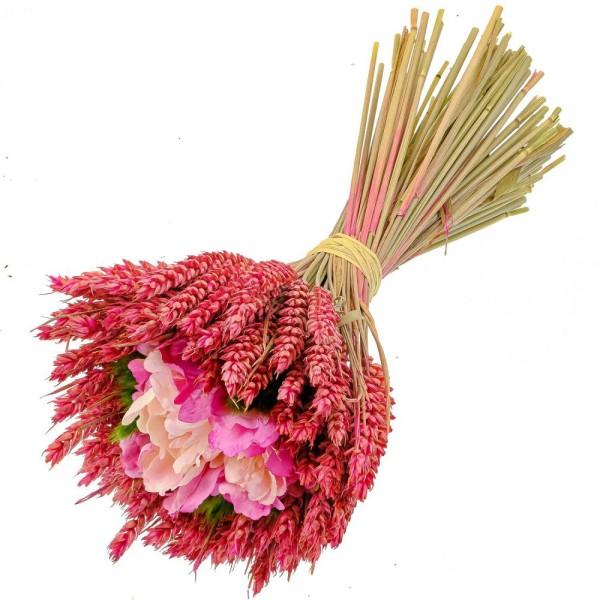 Bouquet de blé rose fleurs en tissu - 30 cm - Photo n°1