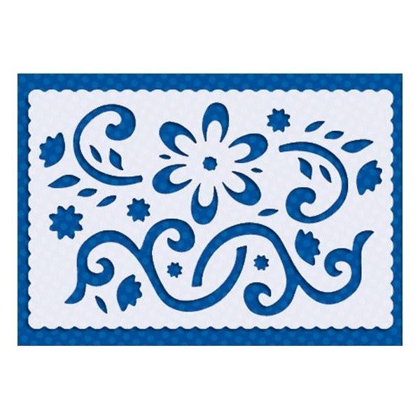 Pochoir plastique souple réutilisable 10 x 15 cm Doodey ORNEMENT FLEUR 04 - Photo n°1