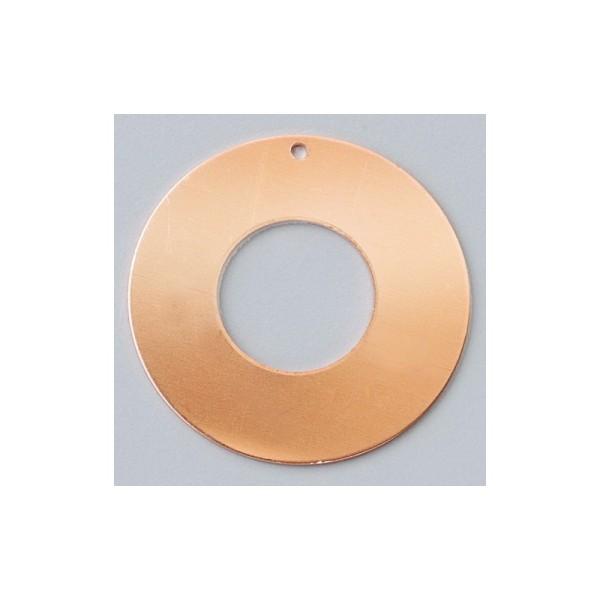 Lot de 10 Pendentifs en cuivre, forme Donut, avec 1 trou, ø 35 mm, épais. 0.8 mm, pour émaillage - Photo n°1