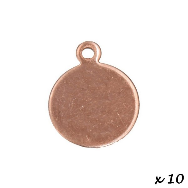 Lot de 10 petits Pendentifs en cuivre Rond, 1 trou, ø 1.5 cm, épais. 0.8mm, ébauche pour émaillage - Photo n°2