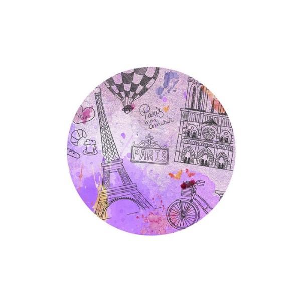 1 Cabochon Verre 30 mm, Cabochon Rond, Paris en Rose Mauve Tour Eiffel et Notre Dame - Photo n°1