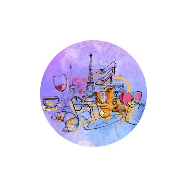 1 Cabochon Verre 25 mm, Cabochon Rond, Paris en Rose Mauve Tour Eiffel et Gastronomie - Photo n°1