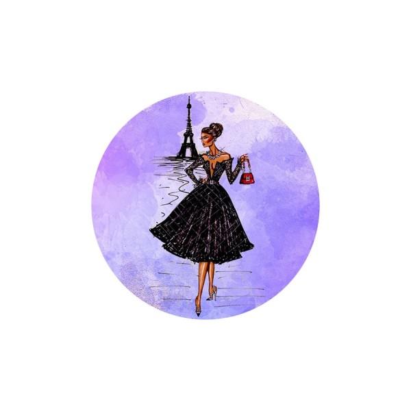1 Cabochon Verre 30 mm, Cabochon Rond, Paris en Rose Mauve Tour Eiffel et Femme elegante - Photo n°1