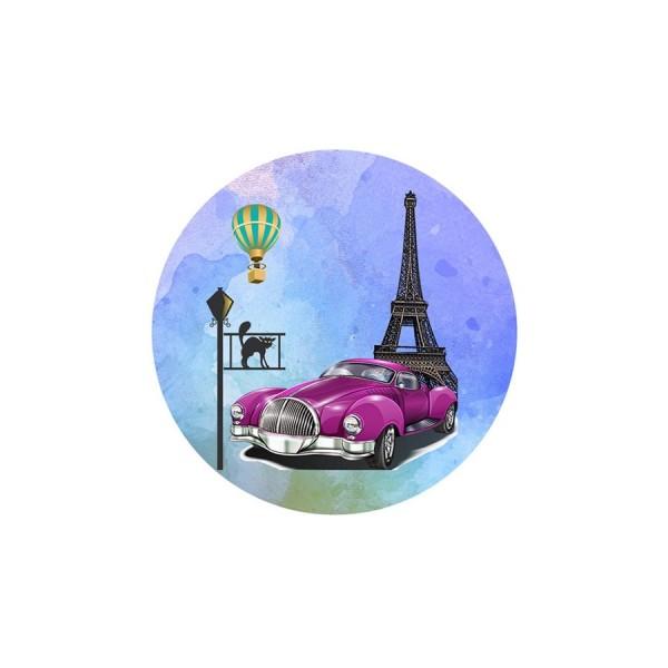 1 Cabochon Verre 30 mm, Cabochon Rond, Paris en Rose Mauve Tour Eiffel et Cadillac - Photo n°1