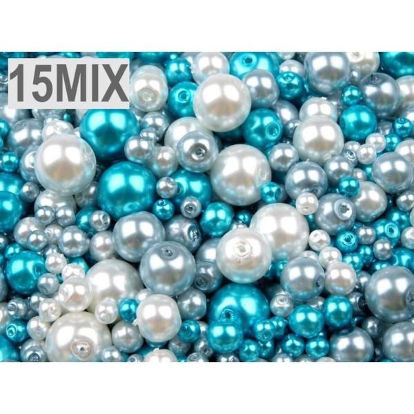 100g de 15 Mélanger Rond Verre Perles Imitation Perles de Mélange de Tailles Et De Couleurs Ø4-12mm, - Photo n°1