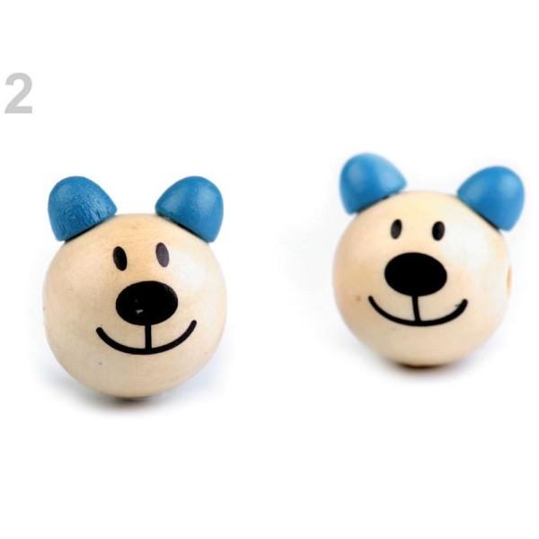2pc 2 Riche Bleu Perle en Bois Tête d'Ours Ø24mm, Perles de Bijoux, de Perles faites à la Main, Perl - Photo n°1