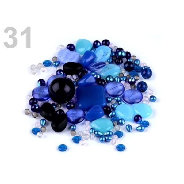 100g 31 Bleu Marine Mixte Rumsh Perles de Verre 2e Qualité, des Perles Différentes, Perles tchèques, - Photo n°1