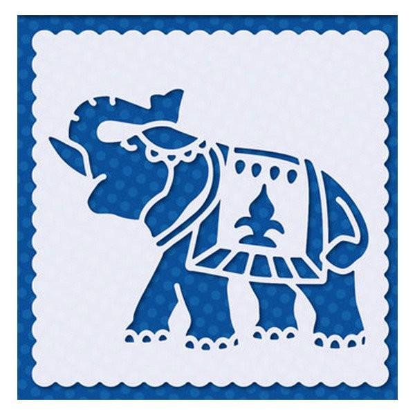 Pochoir plastique souple réutilisable 15 x 15 cm Doodey ELEPHANT 13 - Photo n°1