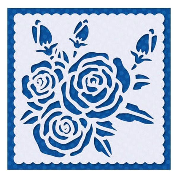 Pochoir plastique souple réutilisable 15 x 15 cm Doodey FLEUR ROSE 02 - Photo n°1