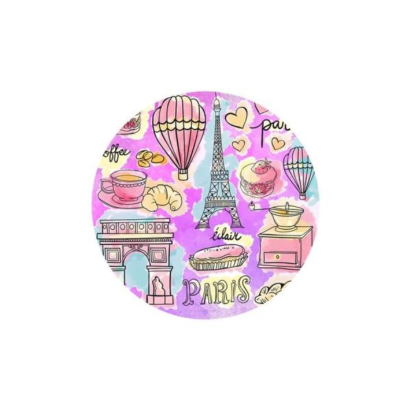 2 Cabochons Verre 14 mm, Cabochon Rond, Paris en Rose Mauve Tour Eiffel et Arc de Triomphe - Photo n°1