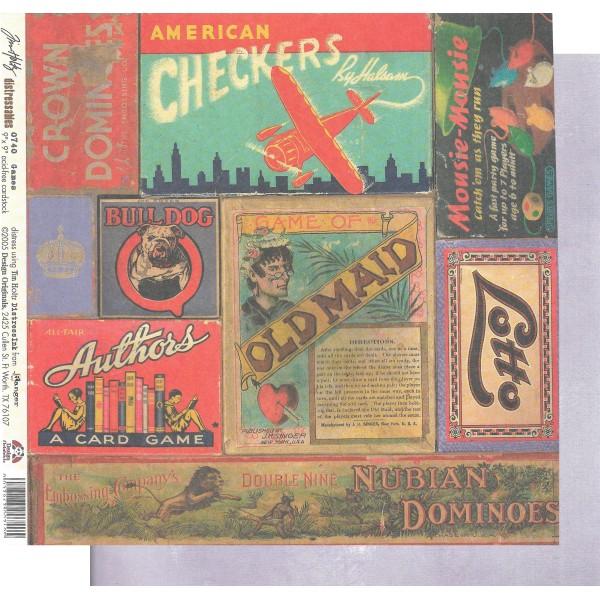 Feuille Papier Scrapbooking Jeux Vintage Tim Holtz 0740 22,9x22,9 imprimé recto-verso - Photo n°1