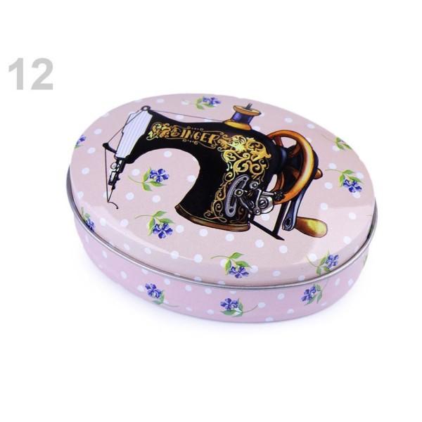 1pc 12 Misty Rose Ovale Boîte d'Étain Pour les Fournitures de Couture, Boîte à la Main, Panier de l' - Photo n°1