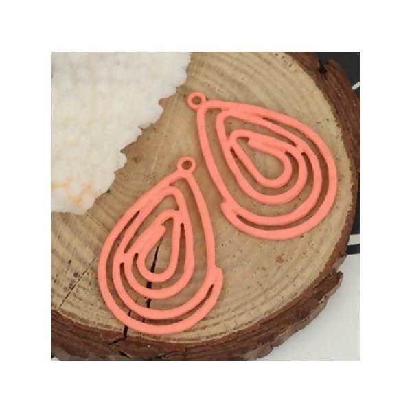 2 Pendentifs goutte spirale - 37*24mm - Orange corail - Photo n°1
