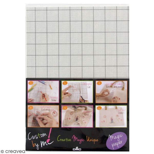 Feuille Magic Paper Custom By Me - Petits carreaux - A4 - 1 pce - Photo n°1
