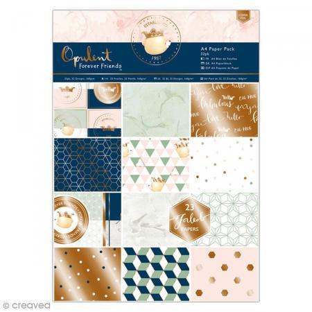 Bloc de papier scrapbooking Forever Friends Opulent - A4 - 32 pcs - Photo n°1
