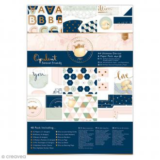Kit complet scrapbooking Forever Friends Opulent - Papiers et die cuts - 48 pcs