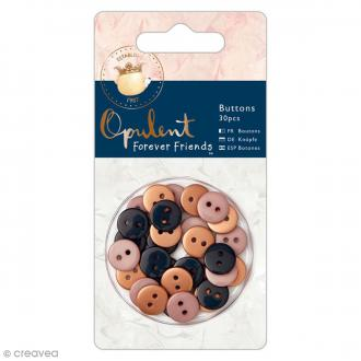 Boutons Ronds Forever Friends Opulent - Cuivre, Rose, Gris - 30 pcs