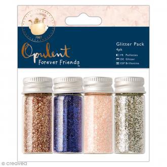 Assortiment de paillettes Forever Friends Opulent - Gris, rose, bleu et cuivre - 4 pots