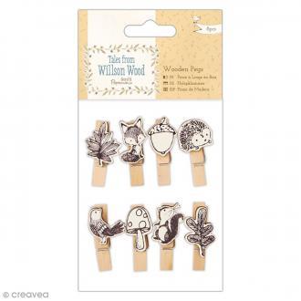 Mini pinces à linge en bois Tales from Wilson Wood - 8 pcs