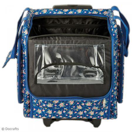 valise de rangement roulettes pour loisirs cr atifs bleu fleurs sac scrapbooking creavea. Black Bedroom Furniture Sets. Home Design Ideas