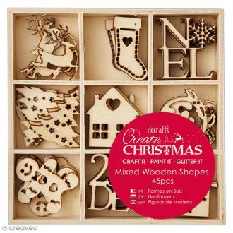 Set de silhouettes en bois - Noël - 45 pcs