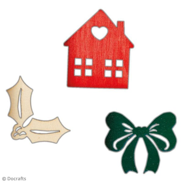 Set Silhouettes en bois - Images de Noël - 48 pcs - Photo n°2