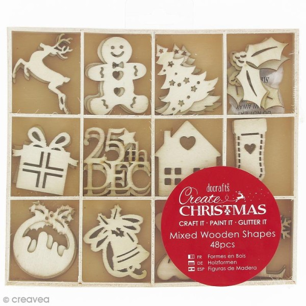 Set Silhouettes en bois - Images de Noël - 48 pcs - Photo n°1