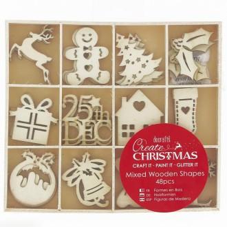 Set Silhouettes en bois - Images de Noël - 48 pcs