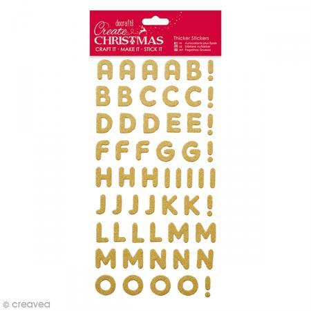 Autocollants cartonnés Alphabet - Doré pailleté - 20 mm - 106 pcs - Photo n°1