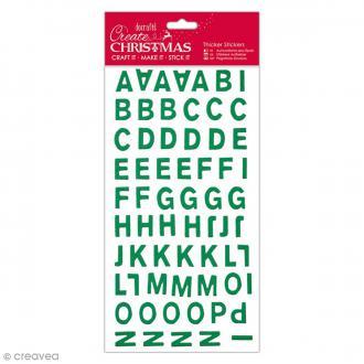 Alphabet Autocollant Cartonné Festif - Vert Pailleté