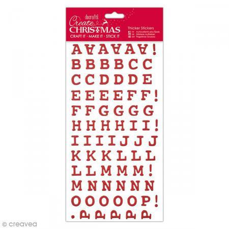 Autocollants cartonnés Alphabet - Rouge glitter pailleté - 15 mm - 154 pcs - Photo n°1