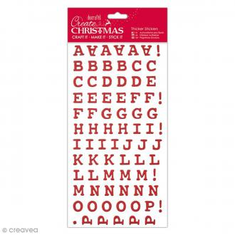 Autocollants cartonnés Alphabet - Rouge glitter pailleté - 15 mm - 154 pcs