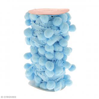 Galons à pompons Bleu Glacé - 3 mètres
