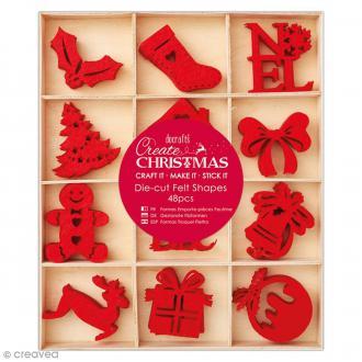 Formes de Noël 4 cm en feutrine - 48 pcs