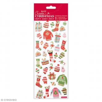 Stickers pailletés Noël - Pullover Festif - 37 pcs