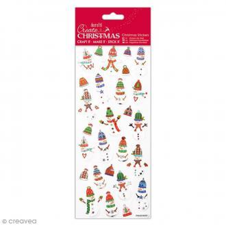 Stickers pailletés Noël - Bonhommes de Neige - 27 pcs