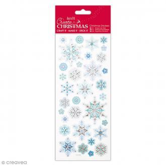 Autocollants De Noël Métallisés & embossés - Flocons de neige - 33 pcs