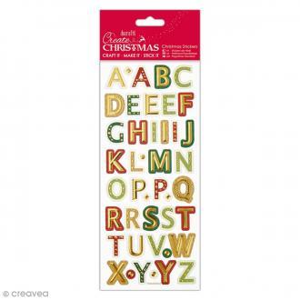 Autocollants métallisés et embossés - Alphabet de Noël Majuscules - 43 pcs