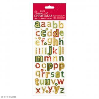 Autocollants métallisés et embossés - Alphabet de Noël Minuscules - 60 pcs