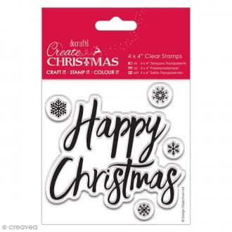 Tampon clear Docrafts - Happy Christmas - 5 tampons