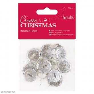 Attache boules de Noël Argentées - 10 pcs