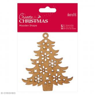 Forme en bois à décorer - Arbre de Noël - 10 x 9 cm