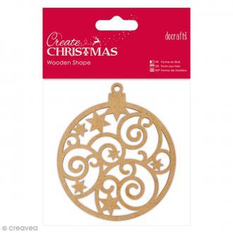 Forme en bois à décorer - Boule de Noël - 9 cm