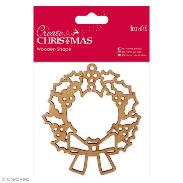 Forme en bois à décorer - Couronne de Noël - 9 cm - Photo n°1