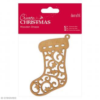 Forme en bois à décorer - Chaussette de Noël - 10 x 8 cm