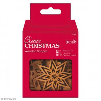Assortiment Formes en bois à décorer - Images de Noël - 10 pcs